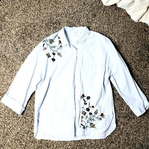 Zara Trafaluc | Floral Embroidered Button Down